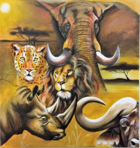 South African Big Five painting a Donation for the Oceanside Friends of the Arts fundraiser